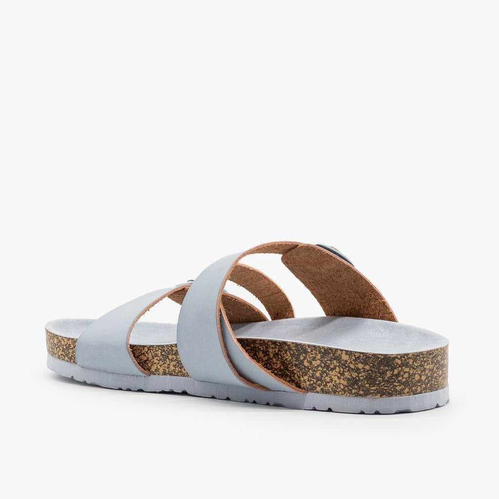 Womens Buckled Criss-Cross Slides - Qupid Shoes