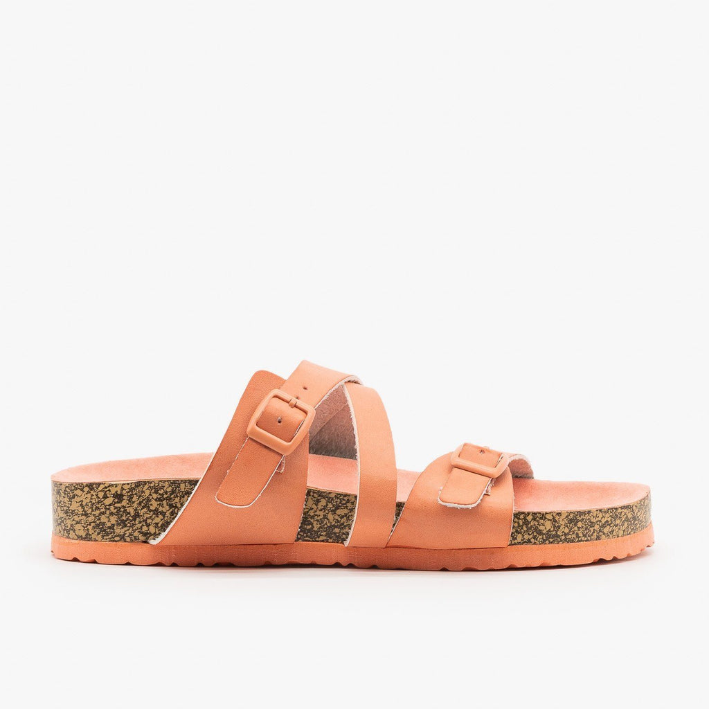 Womens Buckled Criss-Cross Slides - Qupid Shoes - Salmon / 5