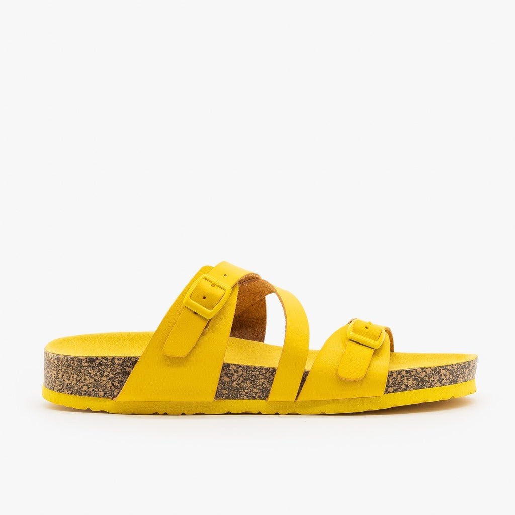 Womens Buckled Criss-Cross Slides - Qupid Shoes - Yellow / 5