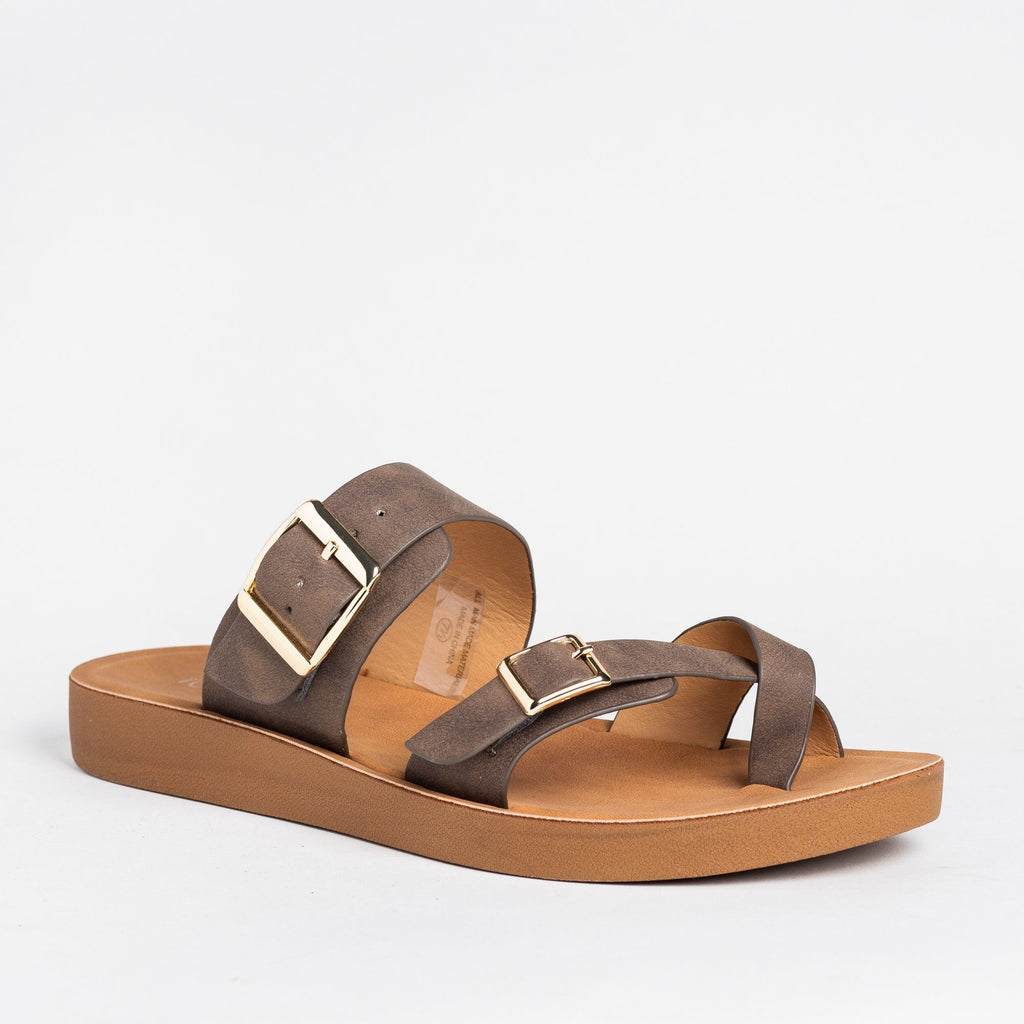 Womens Buckled Criss Cross Toe Hold Sandals - Top Moda - Mocha / 5