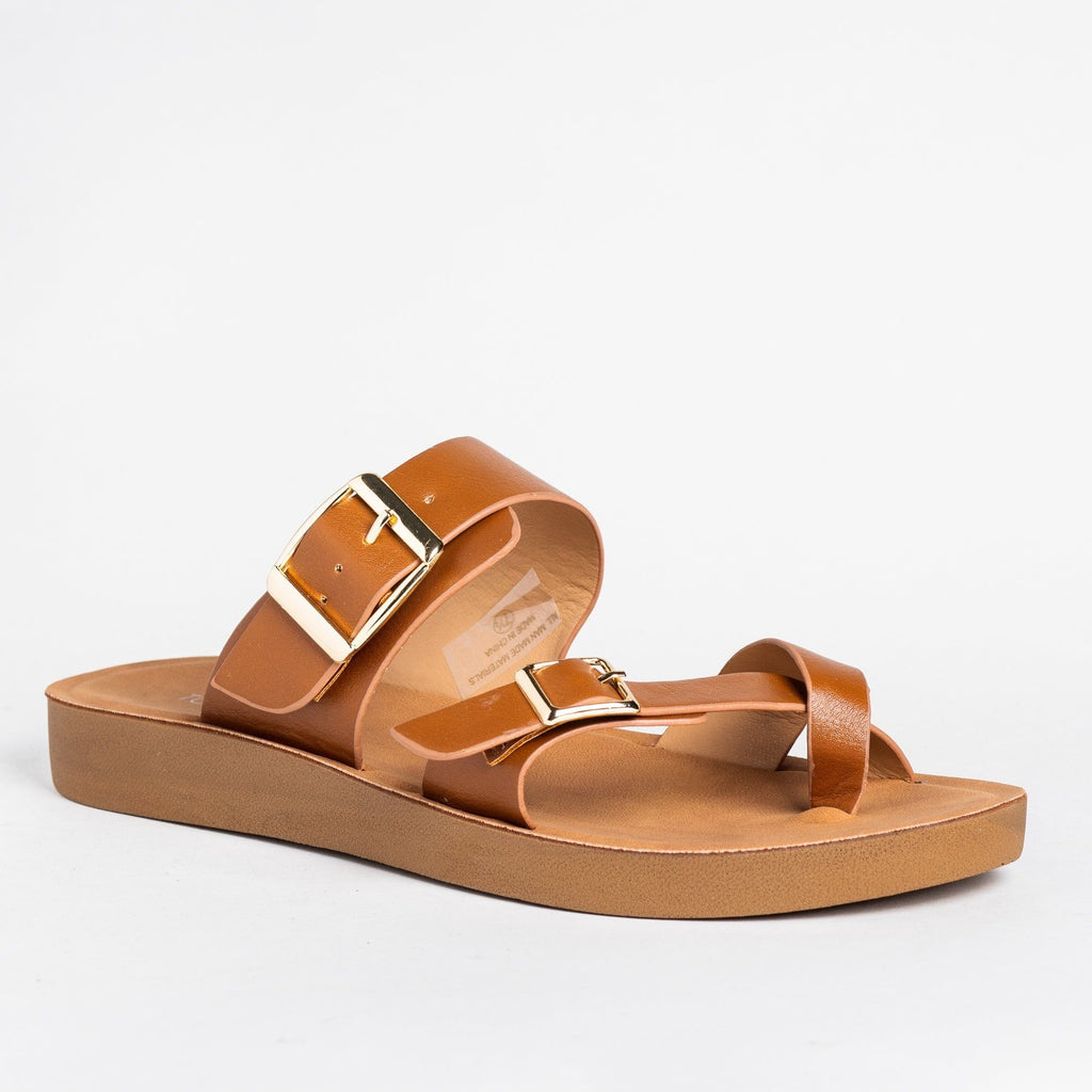 Womens Buckled Criss Cross Toe Hold Sandals - Top Moda - Tan / 5