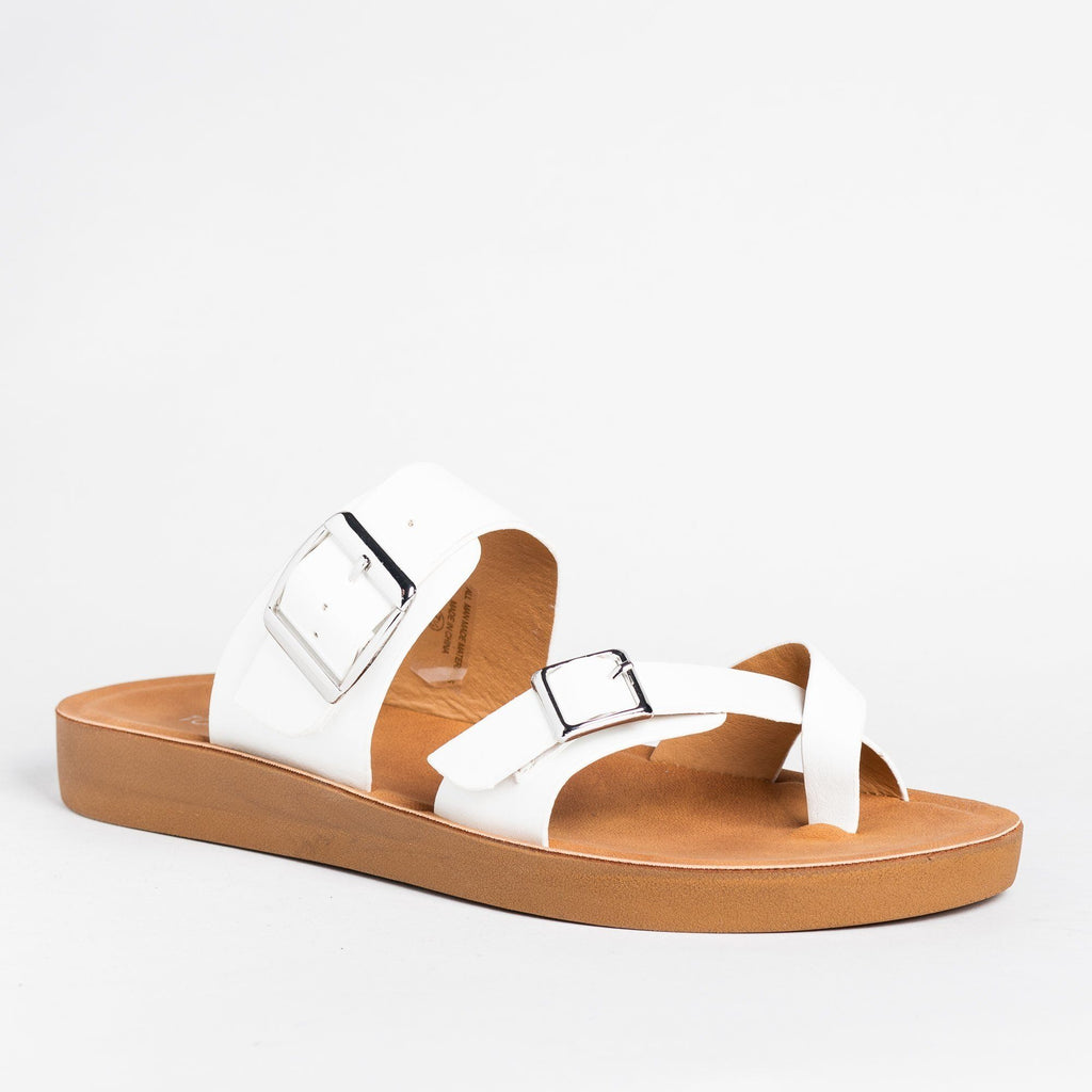 Womens Buckled Criss Cross Toe Hold Sandals - Top Moda - White / 5