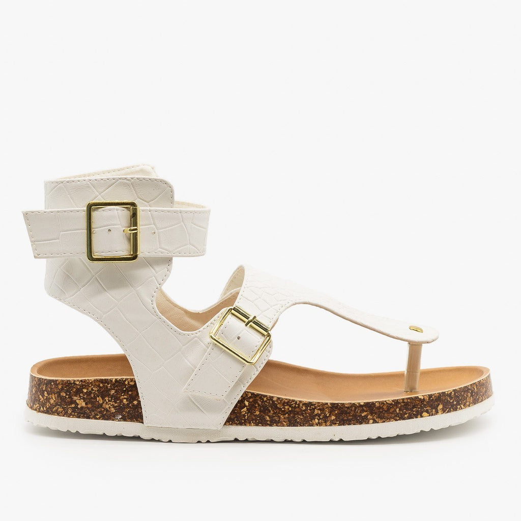 Womens Buckled Crocodile Cork Slides - Qupid Shoes - White Crocodile / 5