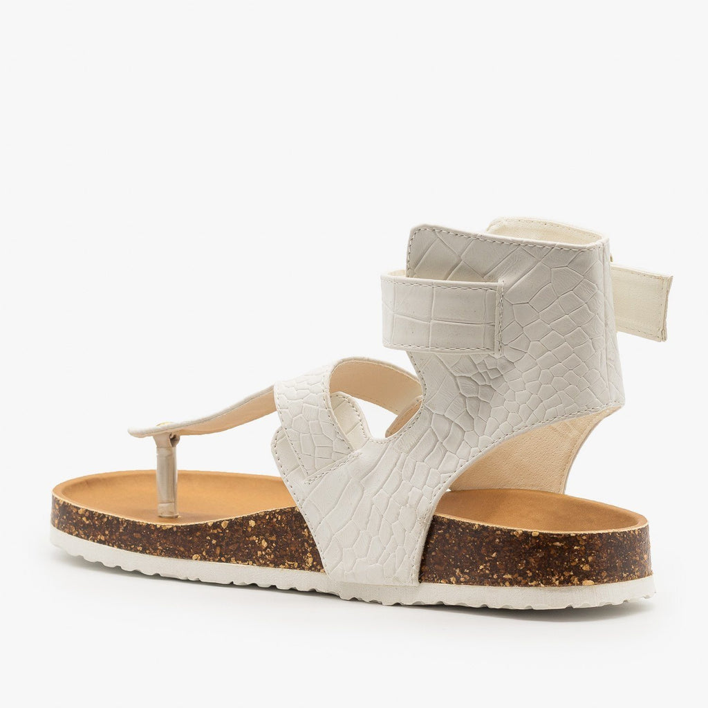 Womens Buckled Crocodile Cork Slides - Qupid Shoes