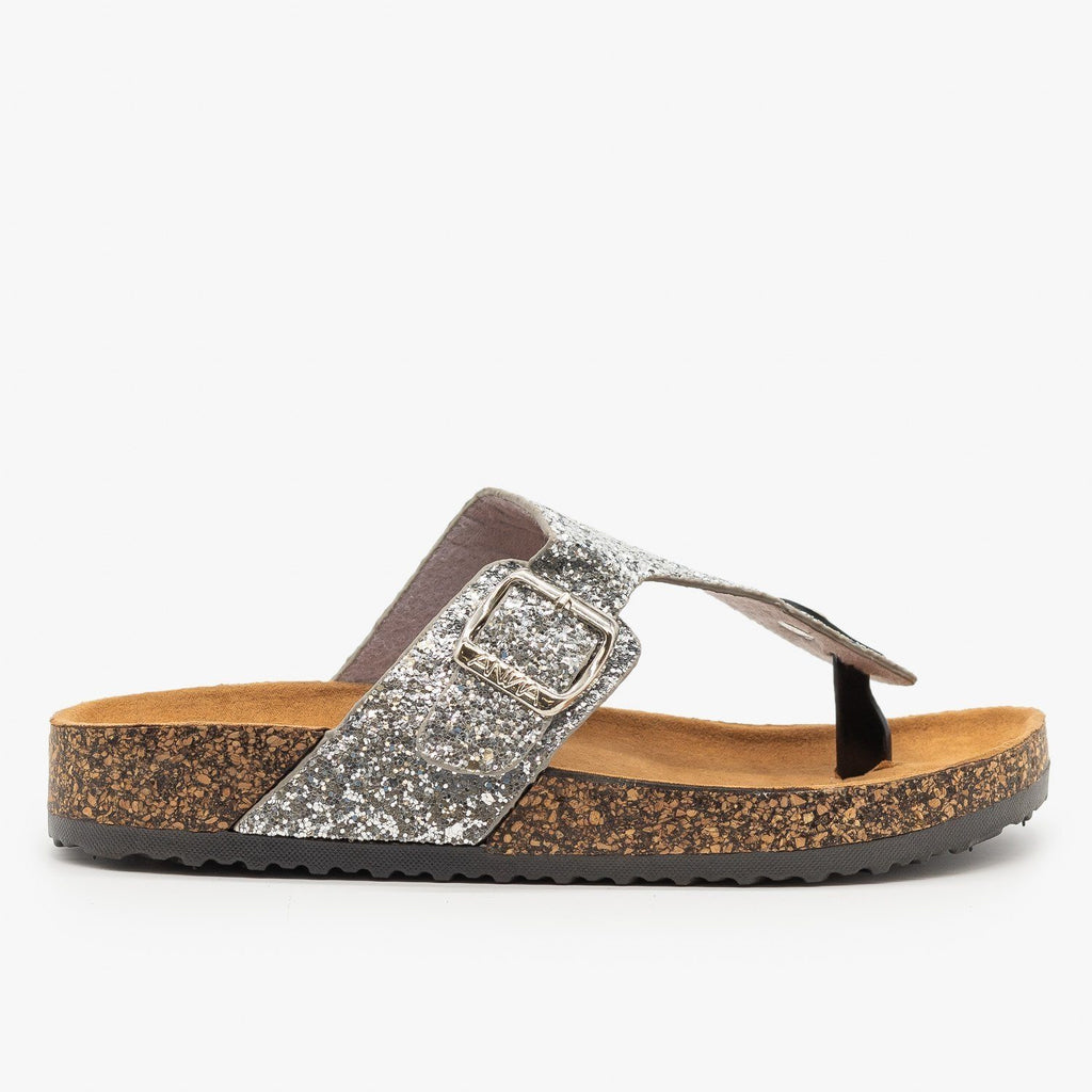 Womens Buckled Glitter Cork Sandals - Anna Shoes