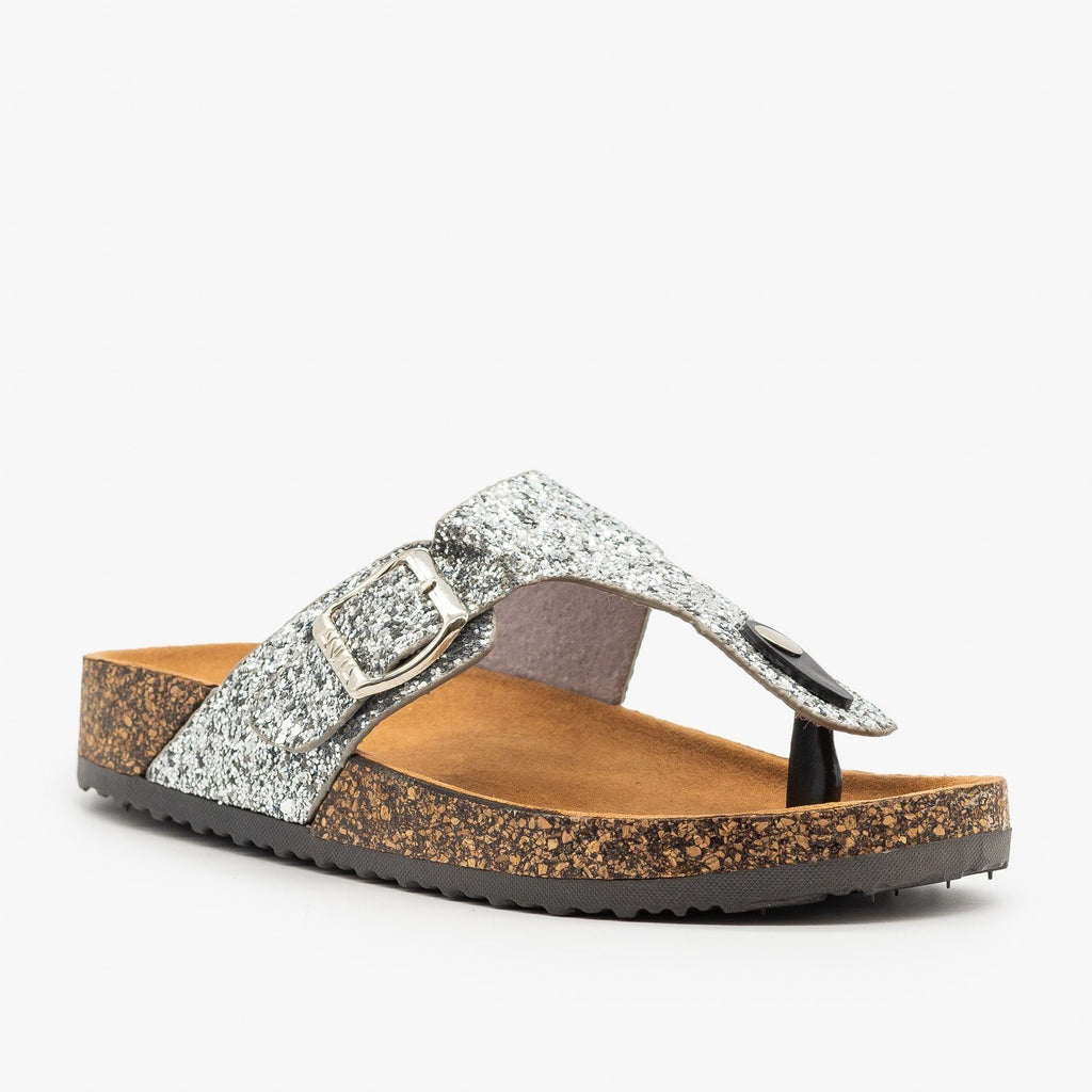 Womens Buckled Glitter Cork Sandals - Anna Shoes - Silver / 5