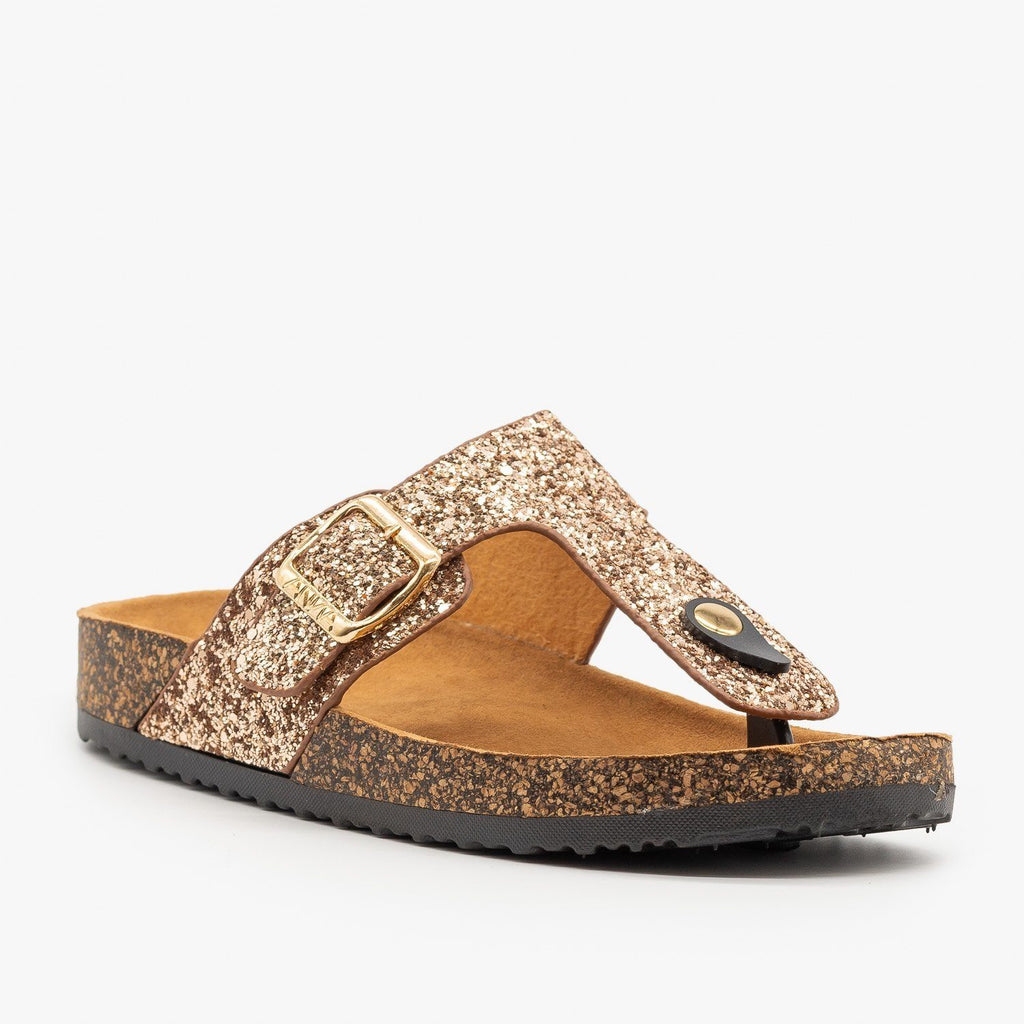 Womens Buckled Glitter Cork Sandals - Anna Shoes - Rose Gold / 5