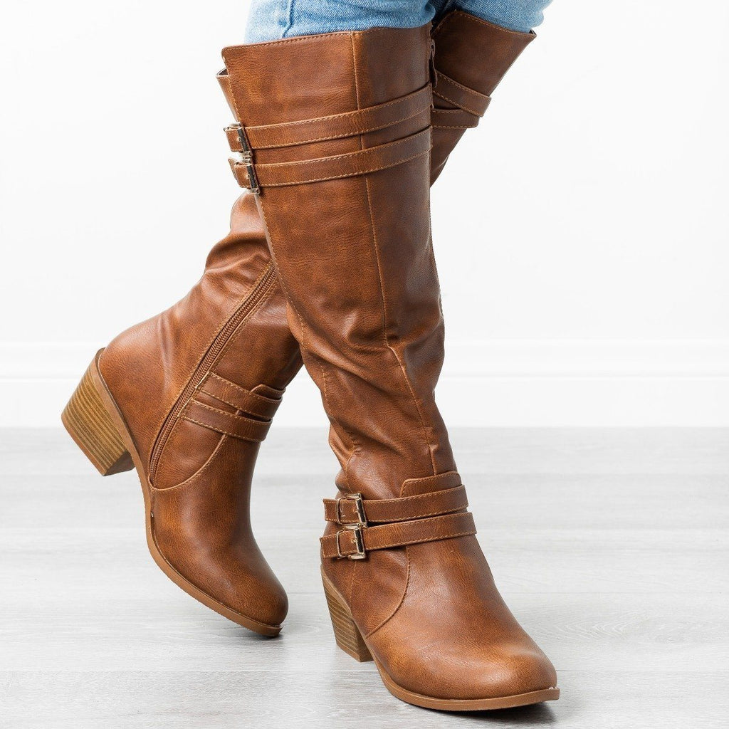 Womens Buckled Heeled Riding Boots - Fashion Focus - Cognac / 5