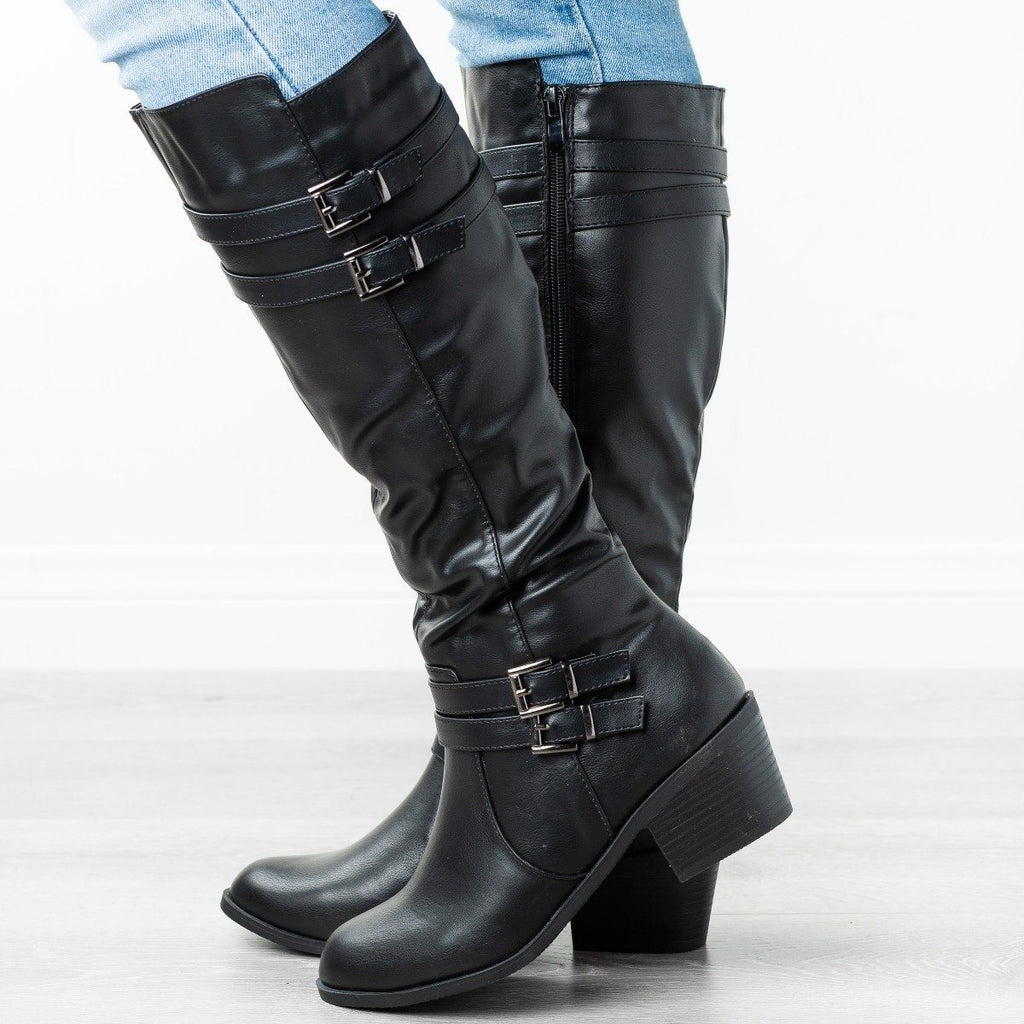 Buckled Heeled Riding Boots Fashion