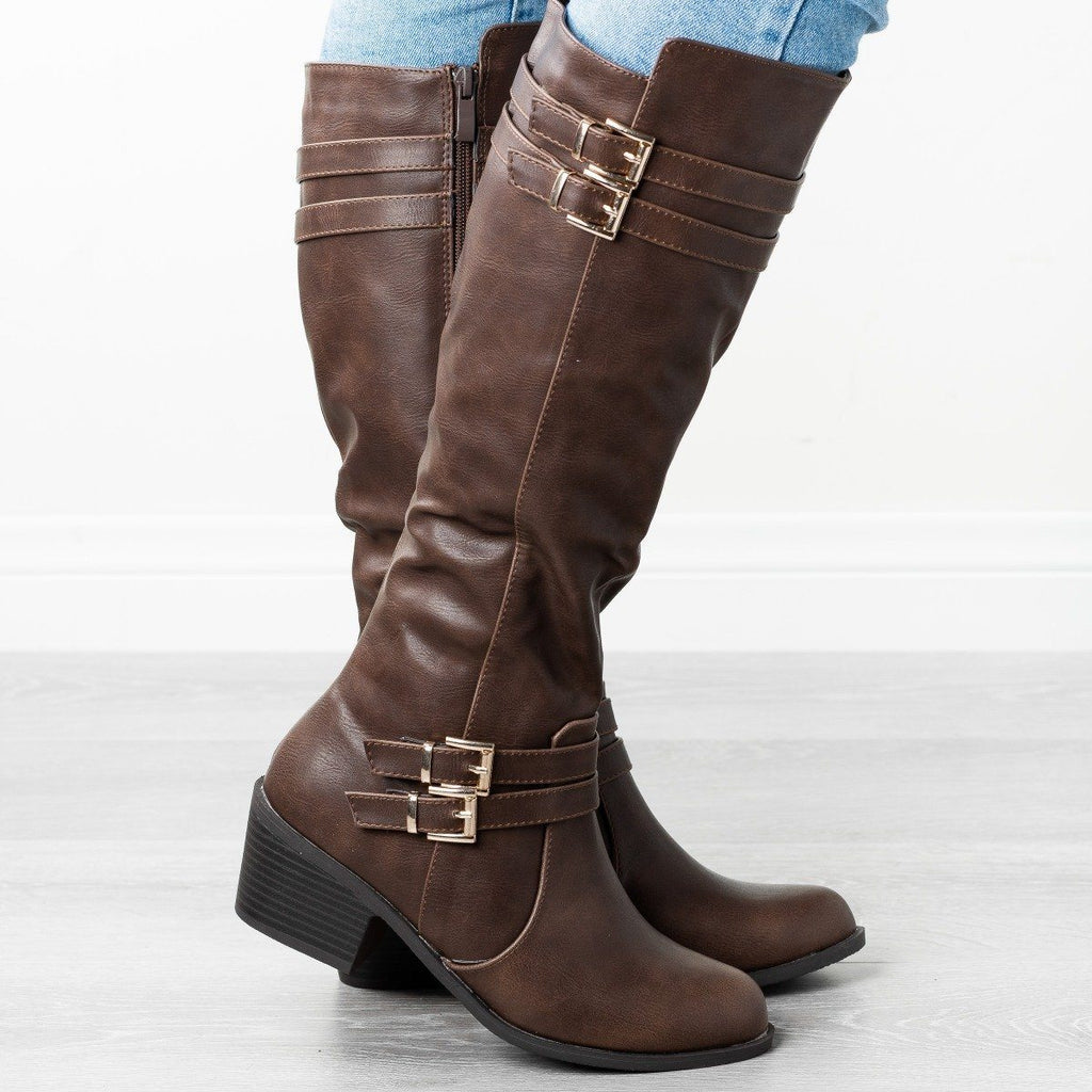 Womens Buckled Heeled Riding Boots - Fashion Focus