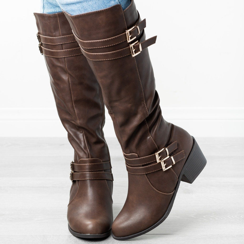 Womens Buckled Heeled Riding Boots - Fashion Focus - Brown / 5