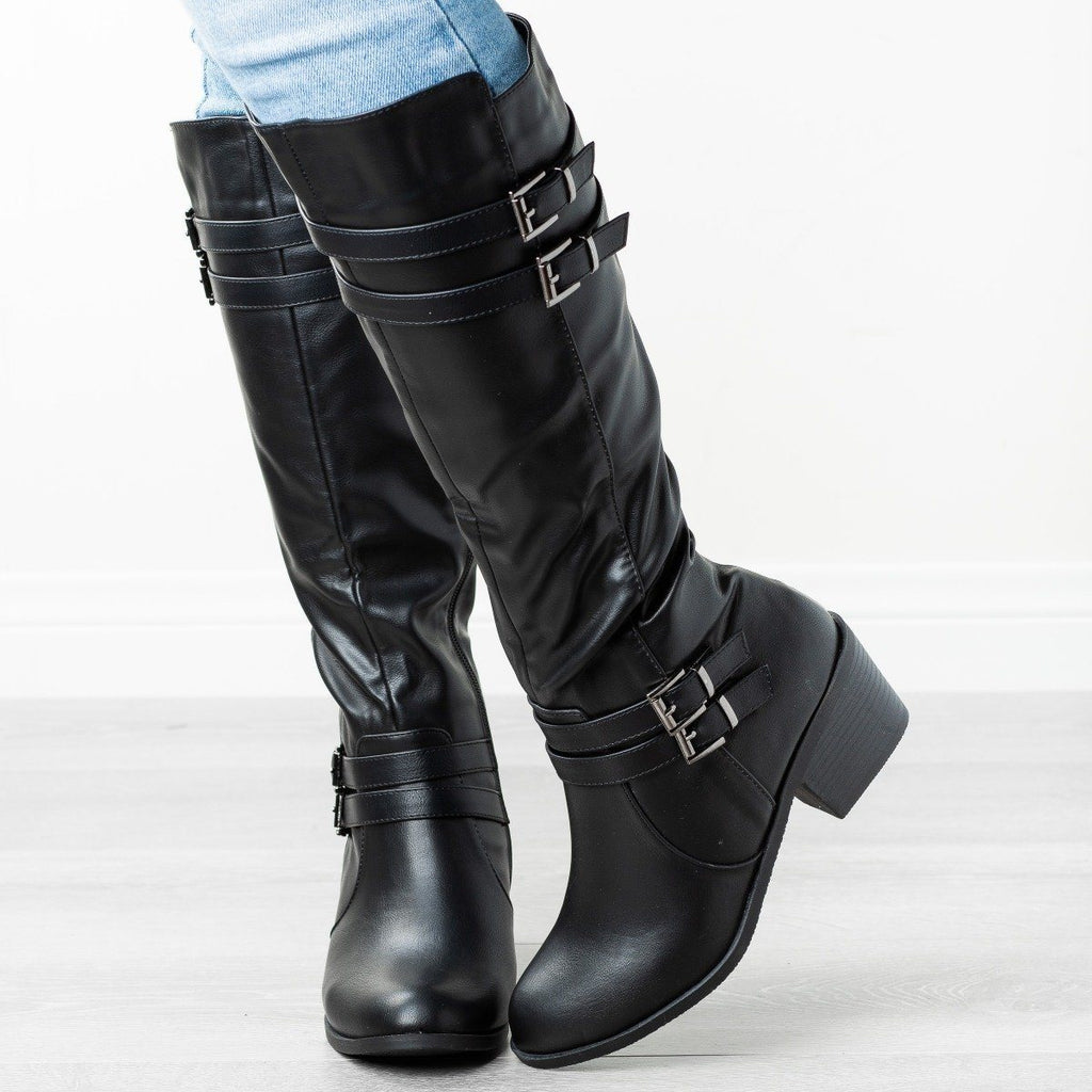 Womens Buckled Heeled Riding Boots - Fashion Focus - Black / 5