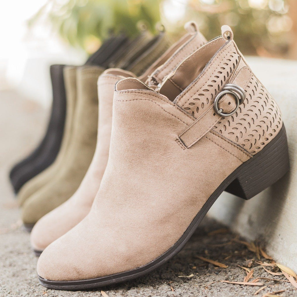 Womens Buckled Laser-Cut Booties - Shoelala
