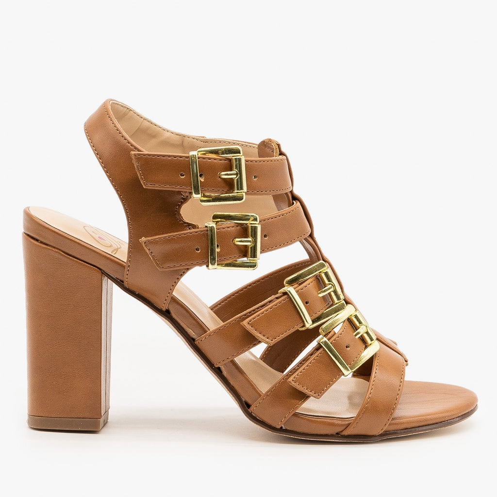 Womens Buckled Open Toe Heels - Delicious Shoes - Tan / 5