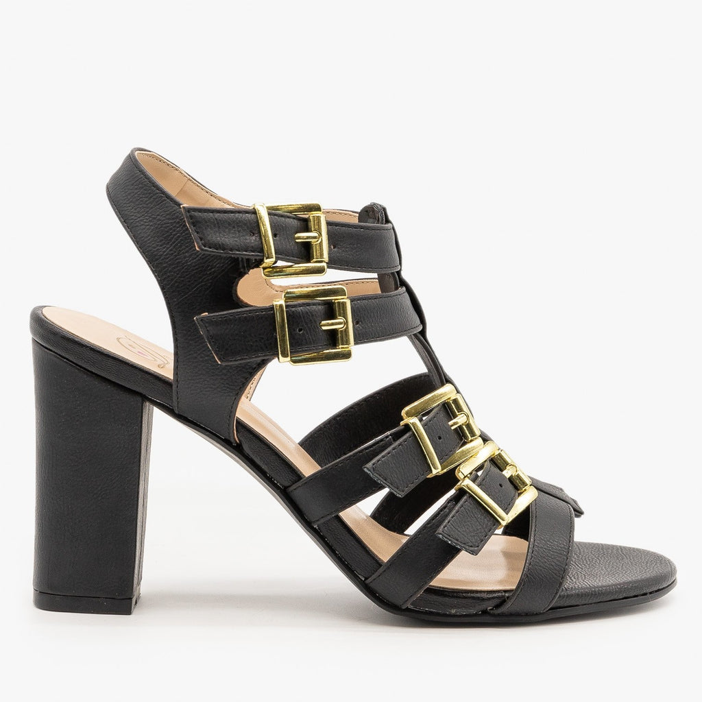 Womens Buckled Open Toe Heels - Delicious Shoes - Black / 5