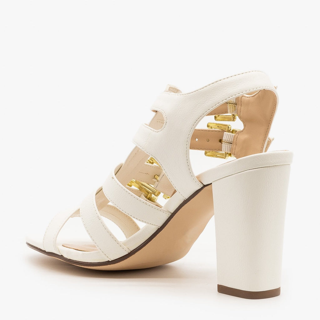 Womens Buckled Open Toe Heels - Delicious Shoes