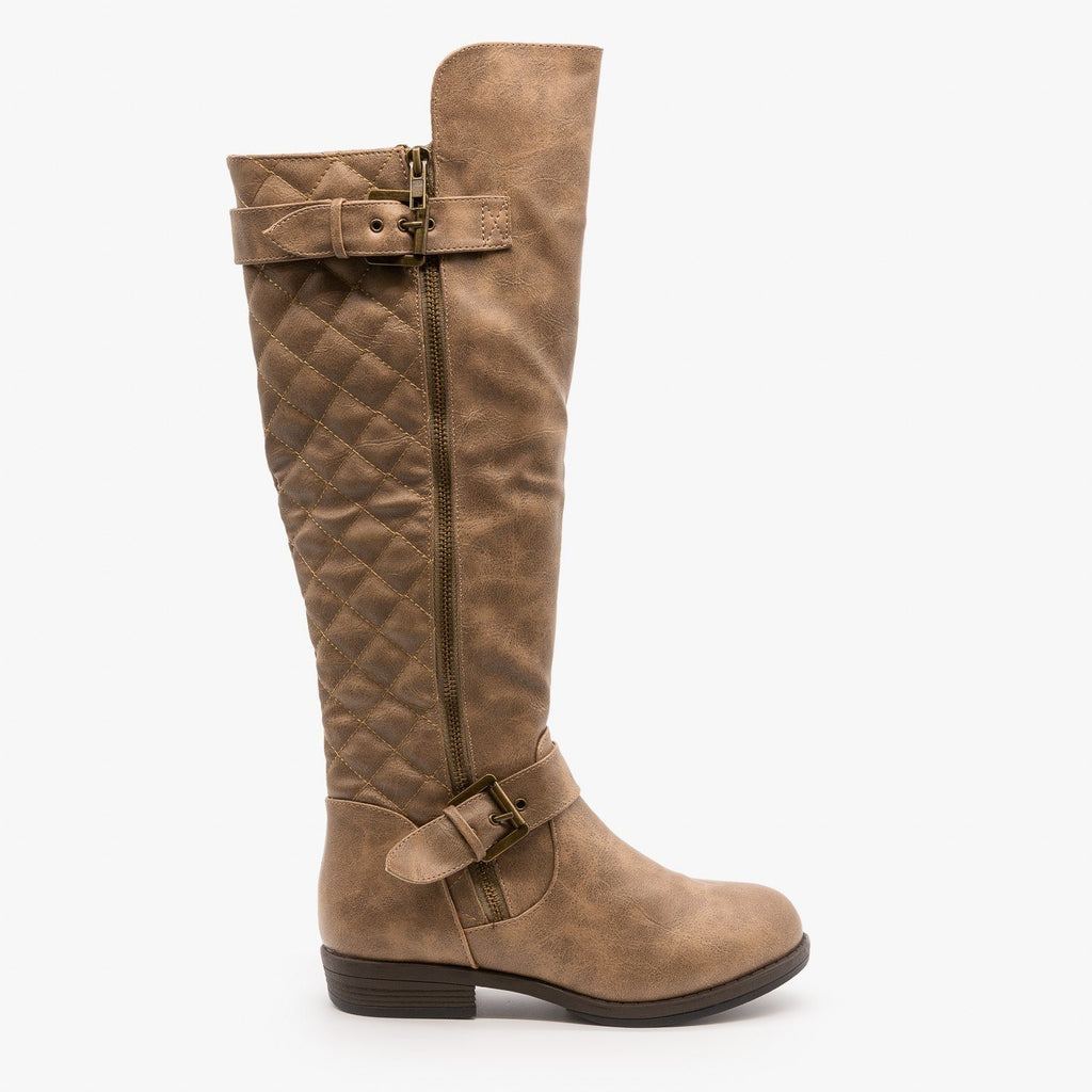Womens Buckled Quilted Riding Boots - Glaze - Taupe / 5