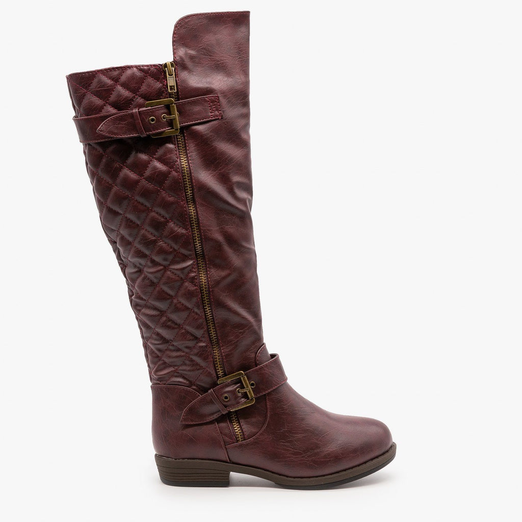 Womens Buckled Quilted Riding Boots - Glaze - Wine / 5