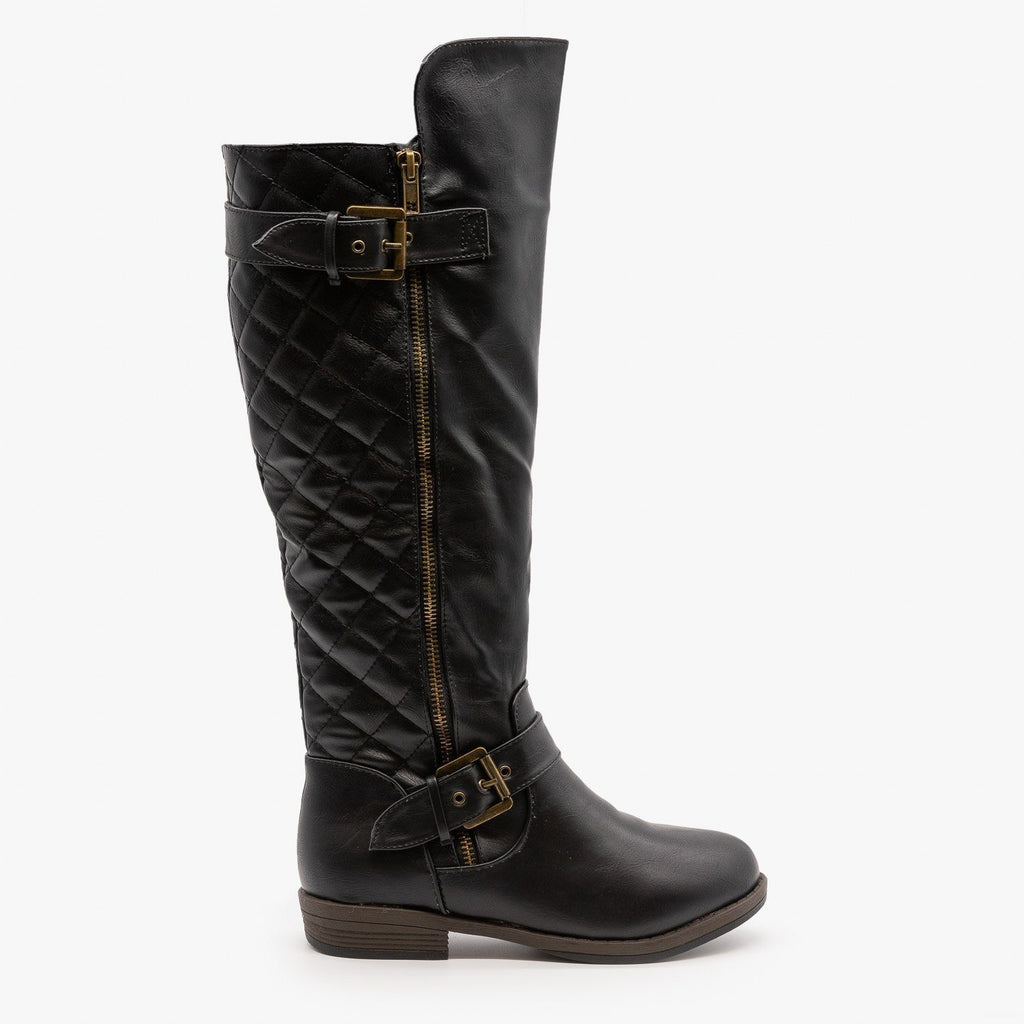 Womens Buckled Quilted Riding Boots - Glaze - Black / 5