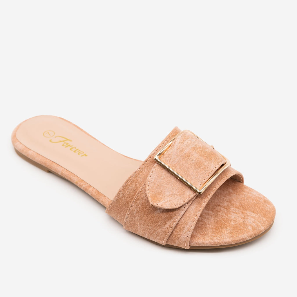 Women's Buckled Slip-on Sandals - Forever - Dusty Pink / 5