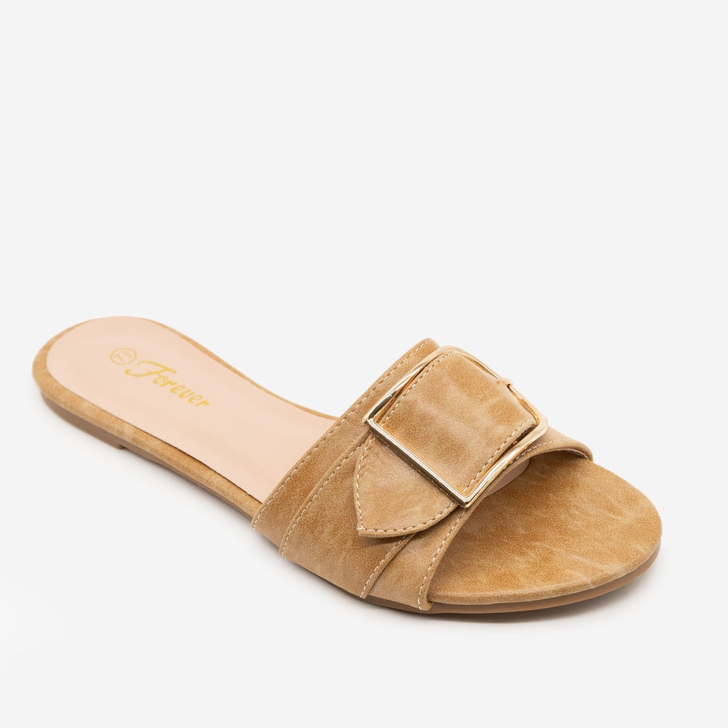 Women's Buckled Slip-on Sandals - Forever - Taupe / 5