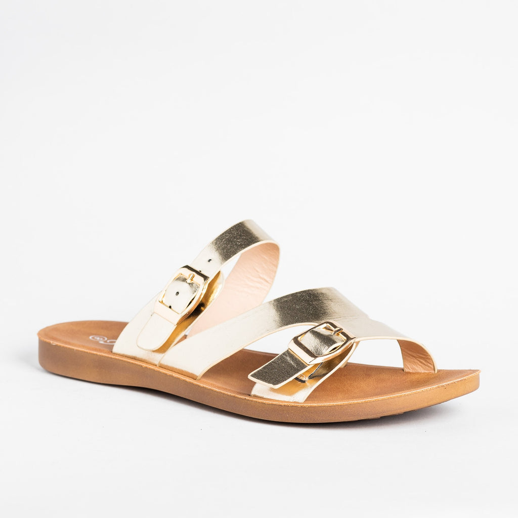 Womens Buckled Slip-On Sandals - Forever - Gold / 5