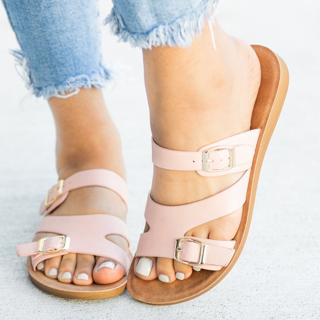 Womens Buckled Slip-On Sandals - Forever - Pink / 5