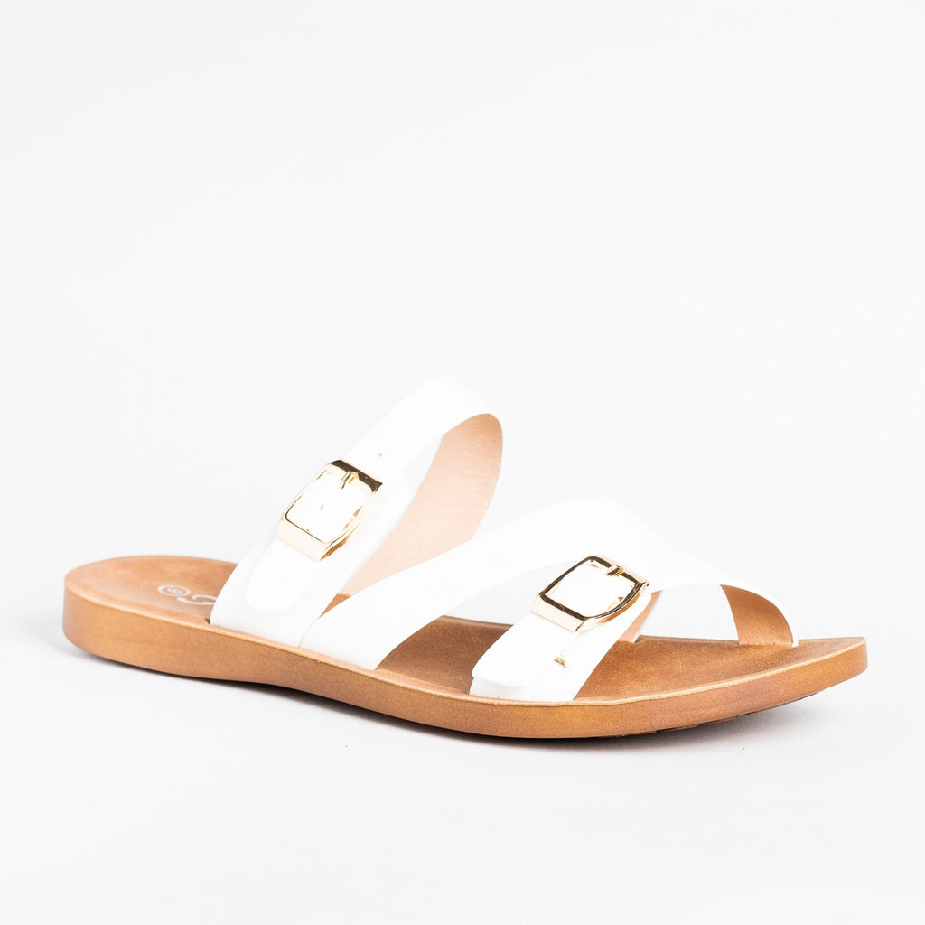 Womens Buckled Slip-On Sandals - Forever - White / 5