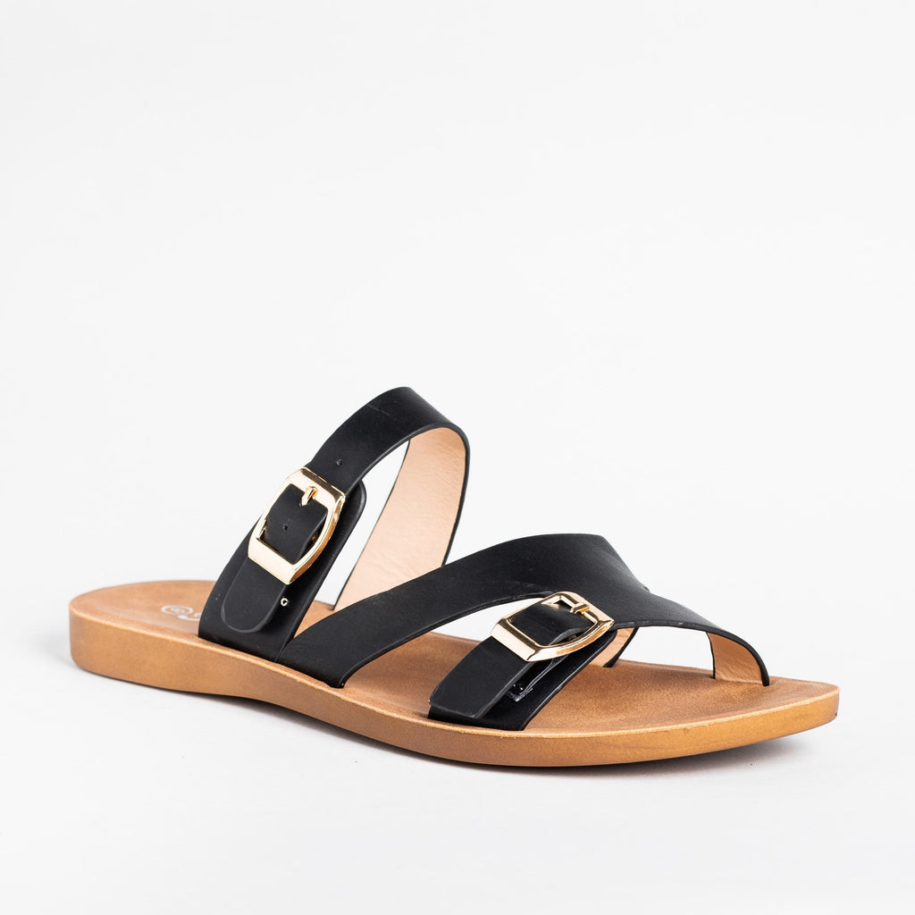 Womens Buckled Slip-On Sandals - Forever - Black / 5