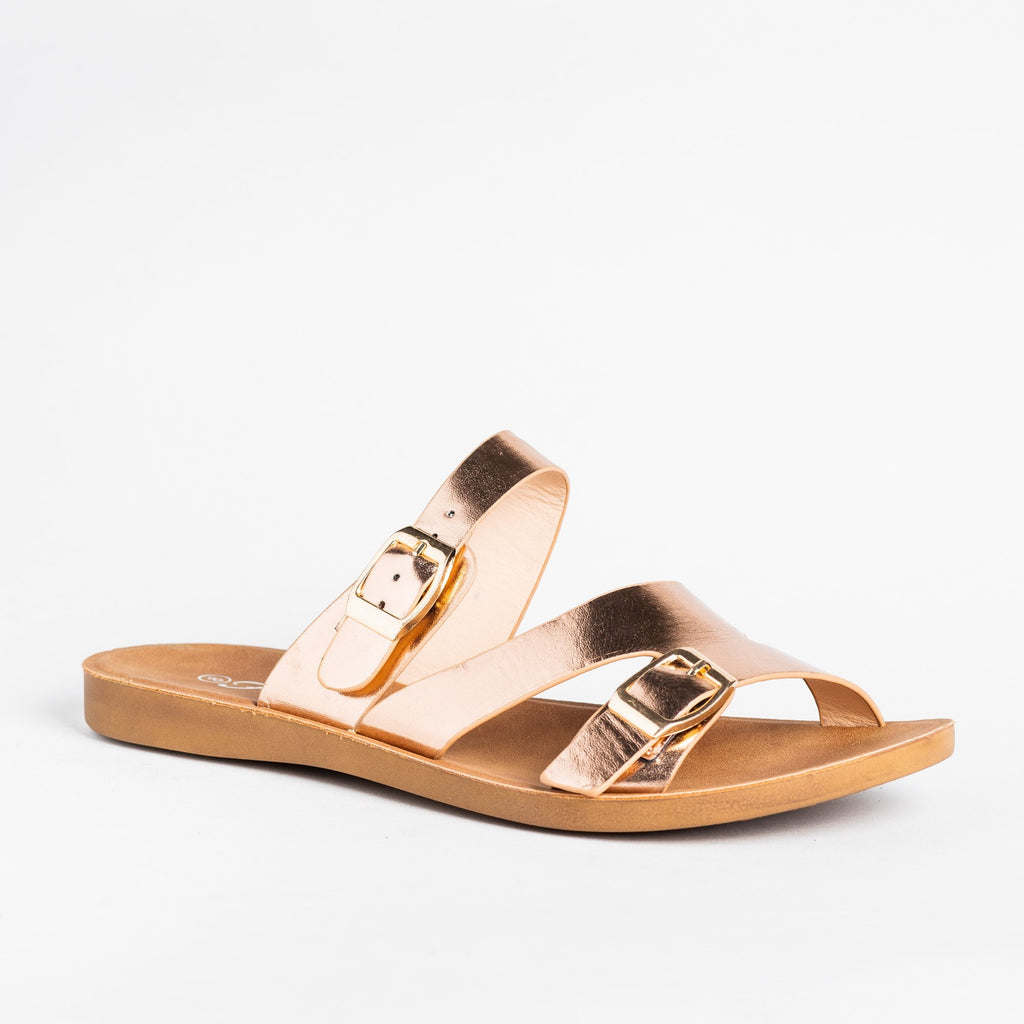 Womens Buckled Slip-On Sandals - Forever - Rose Gold / 5