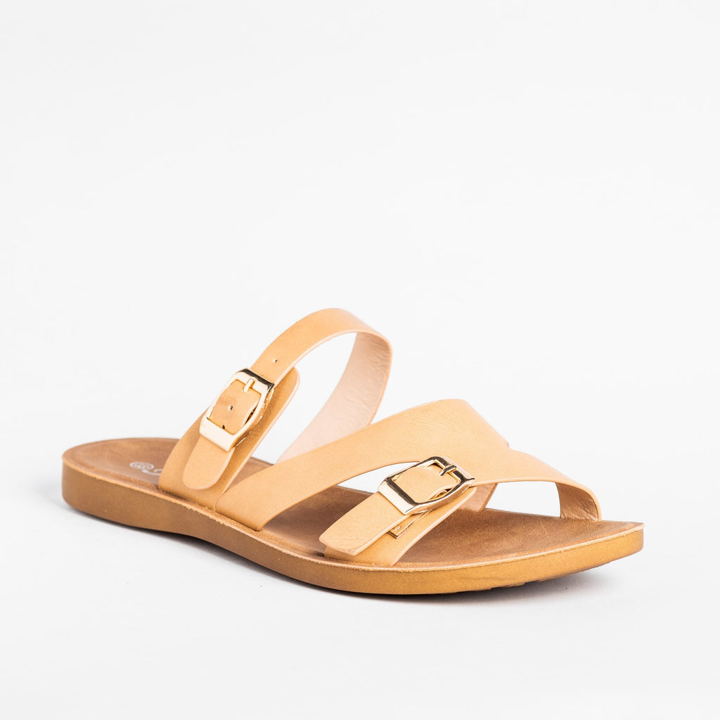 Womens Buckled Slip-On Sandals - Forever - Beige / 5