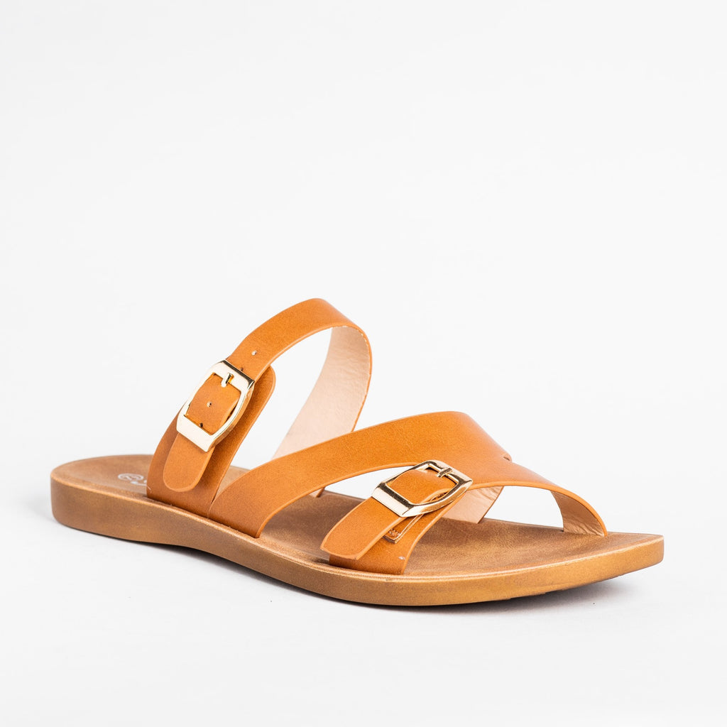 Womens Buckled Slip-On Sandals - Forever - Tan / 5