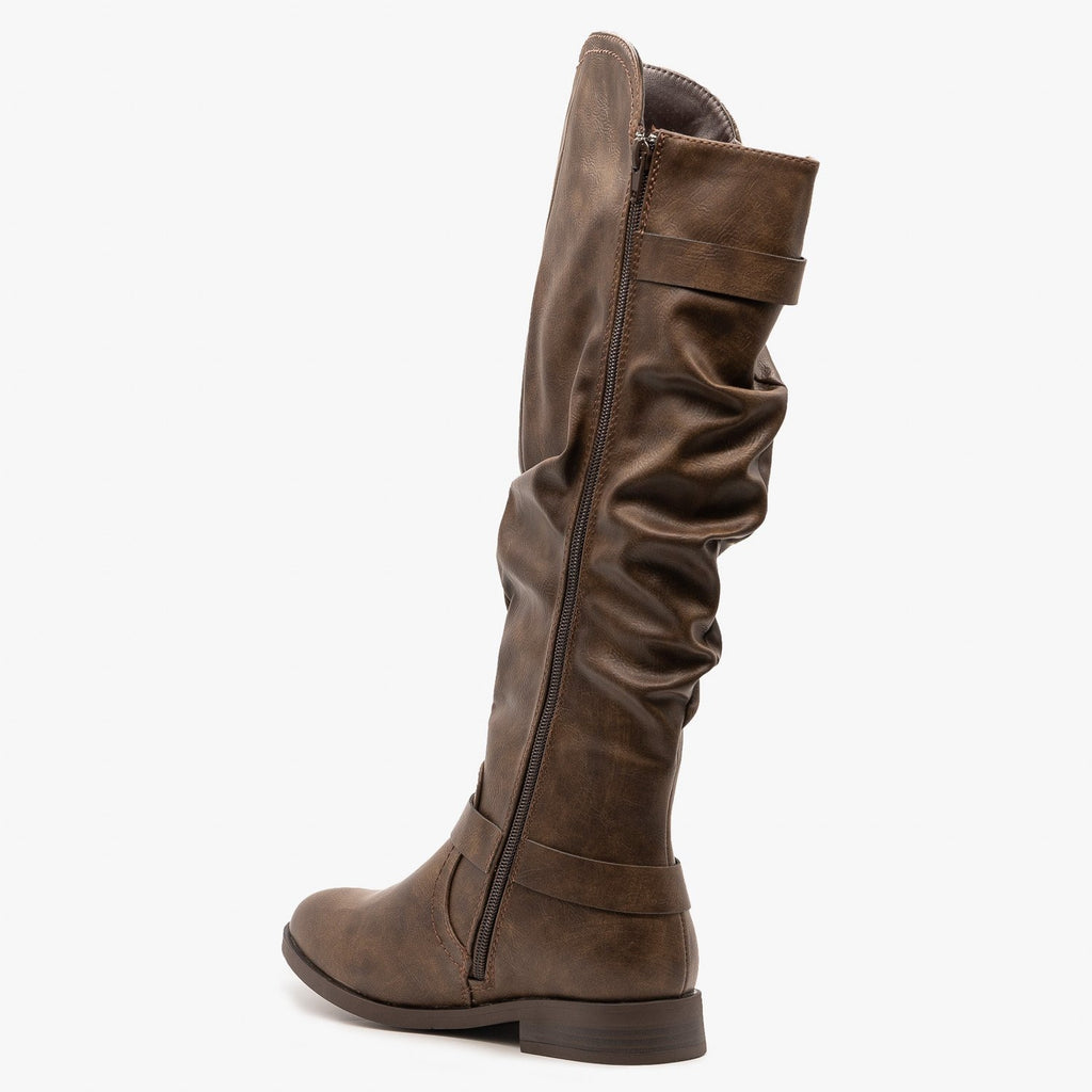 Womens Buckled Slouchy Riding Boots - Yoki
