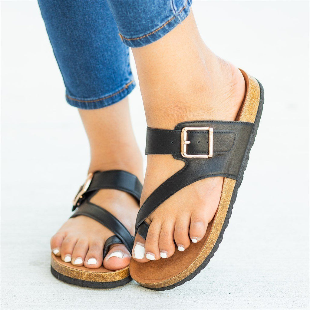 Womens Buckled Strap Toe-Hold Cork Slides - Bamboo Shoes