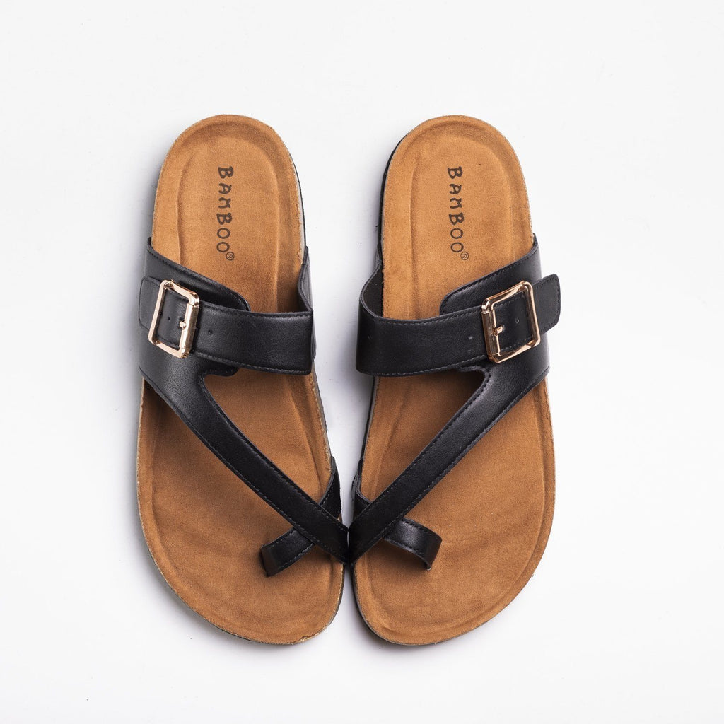 Womens Buckled Strap Toe-Hold Cork Slides - Bamboo Shoes - Black / 5