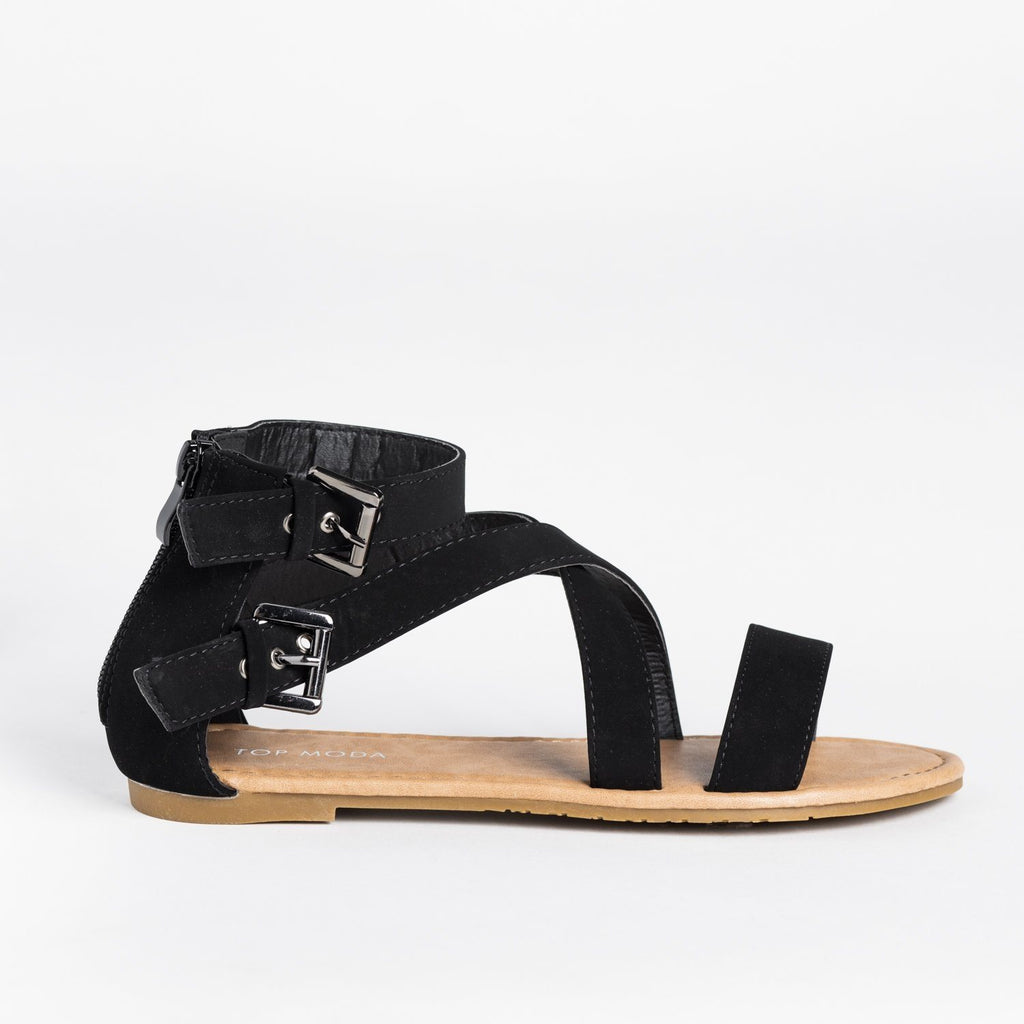 Womens Buckled Strappy Fashion Sandals - Top Moda - Black / 5