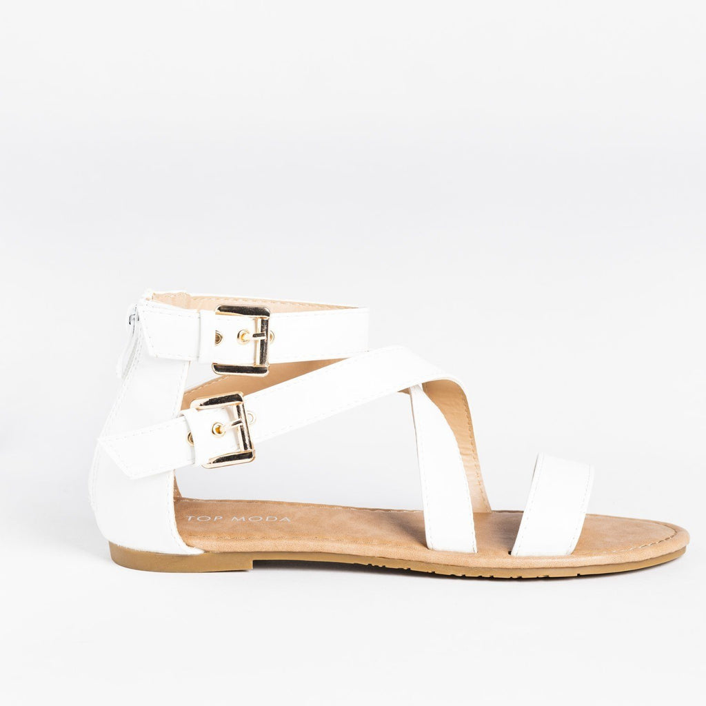 Womens Buckled Strappy Fashion Sandals - Top Moda - White / 5