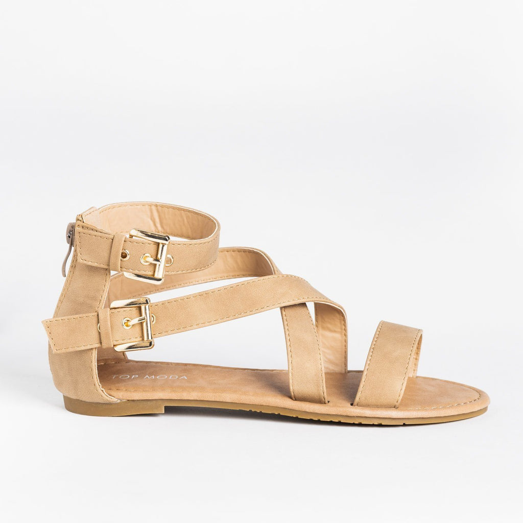 Womens Buckled Strappy Fashion Sandals - Top Moda - Tan / 5