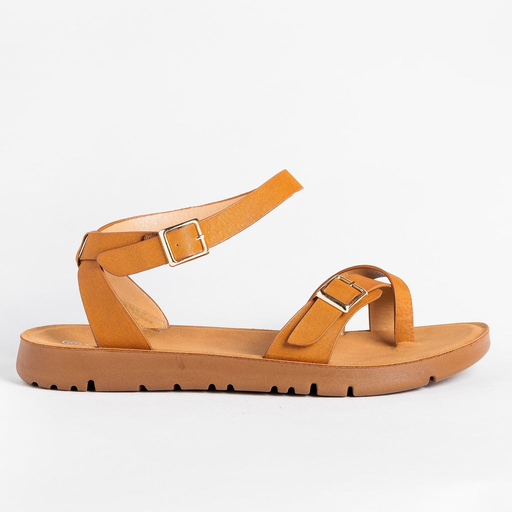 Womens Buckled Toe-Hold Sandals - Forever - Tan / 5