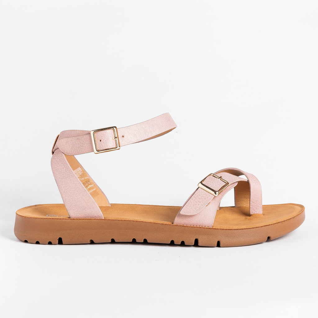 Womens Buckled Toe-Hold Sandals - Forever - Pink / 5