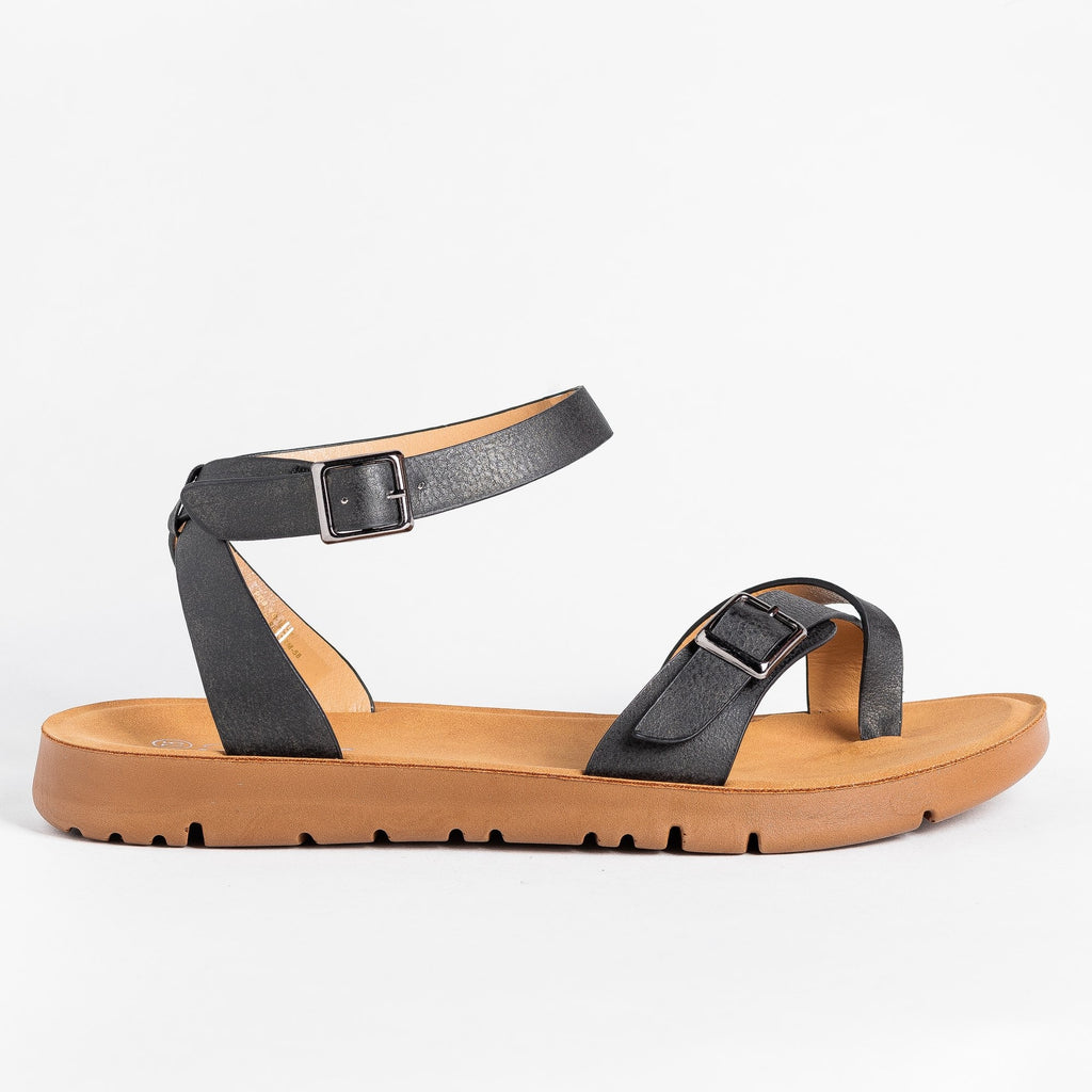 Womens Buckled Toe-Hold Sandals - Forever - Black / 5