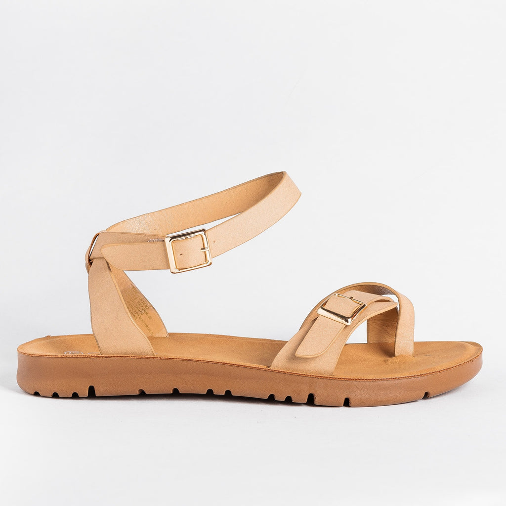 Womens Buckled Toe-Hold Sandals - Forever - Taupe / 5