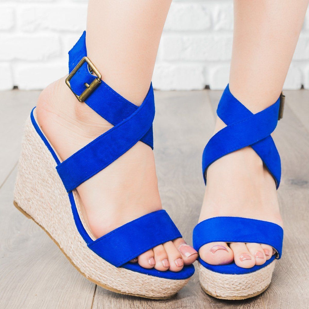 Womens Buena Strappy Espadrille Wedges - Beast Shoes - Navy / 5