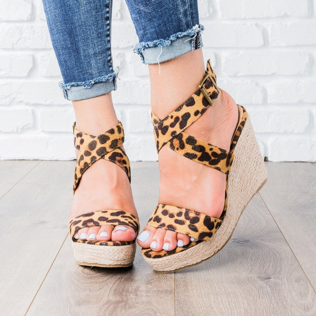 Womens Buena Strappy Espadrille Wedges - Beast Shoes - Leopard / 5