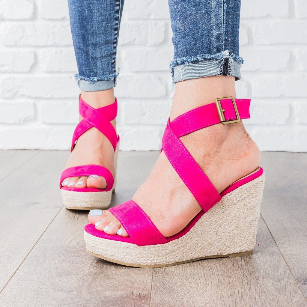 Womens Buena Strappy Espadrille Wedges - Beast Shoes - Fuchsia / 5