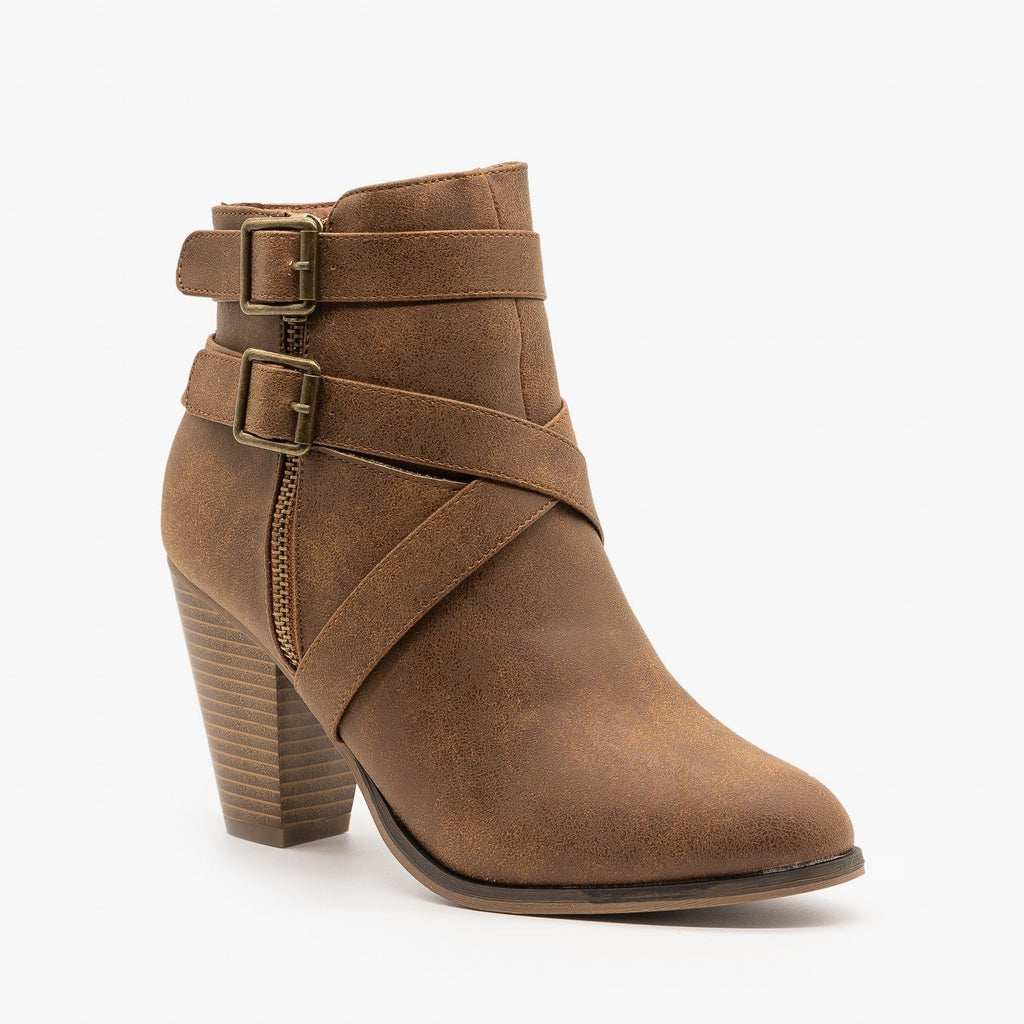Womens Burnished Cross Strap Booties - Forever