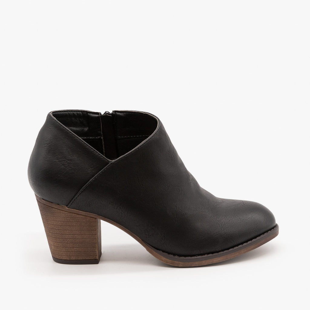 Womens Burnished Toe Fashion Booties - Mata - Black / 5