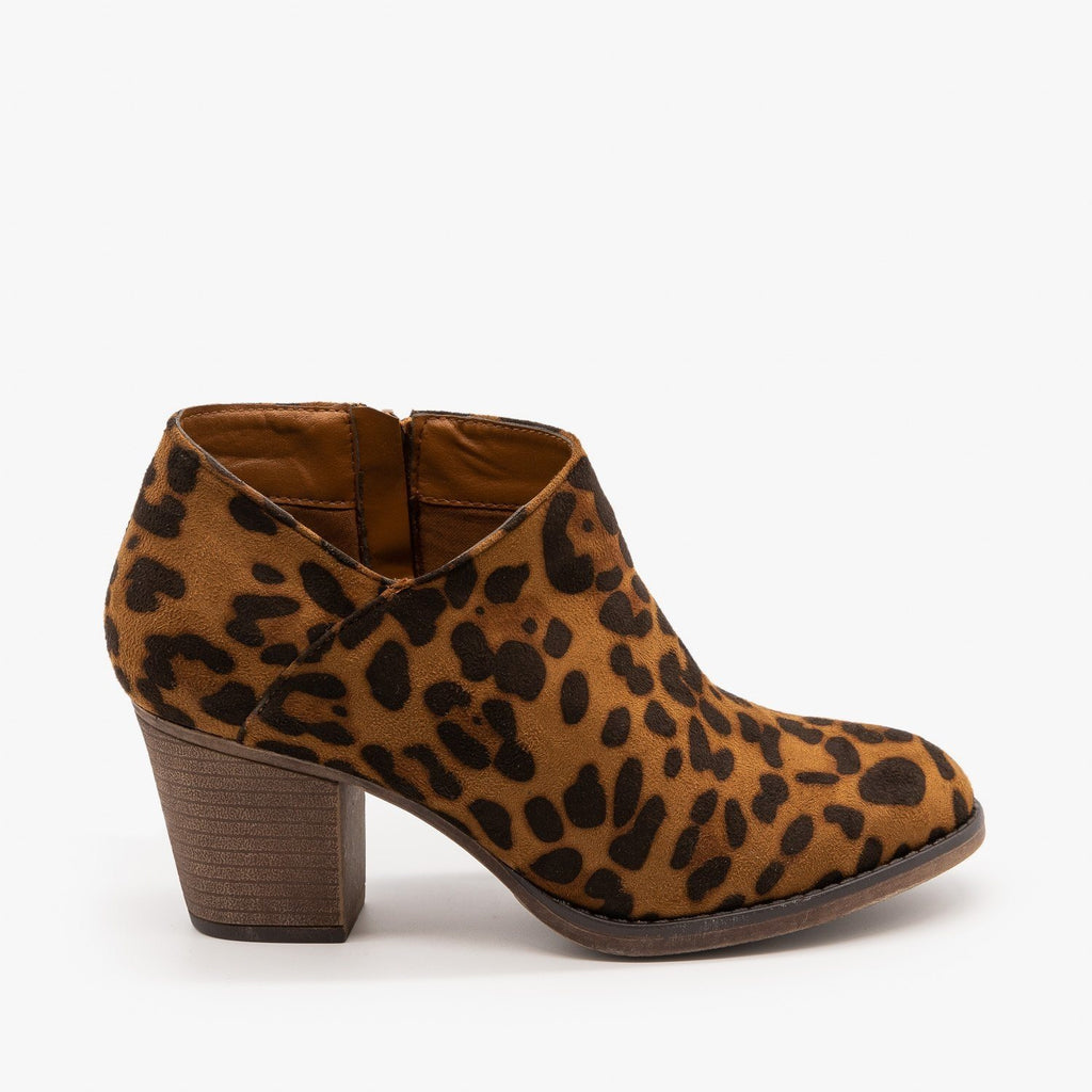 Womens Burnished Toe Fashion Booties - Mata - Leopard / 5