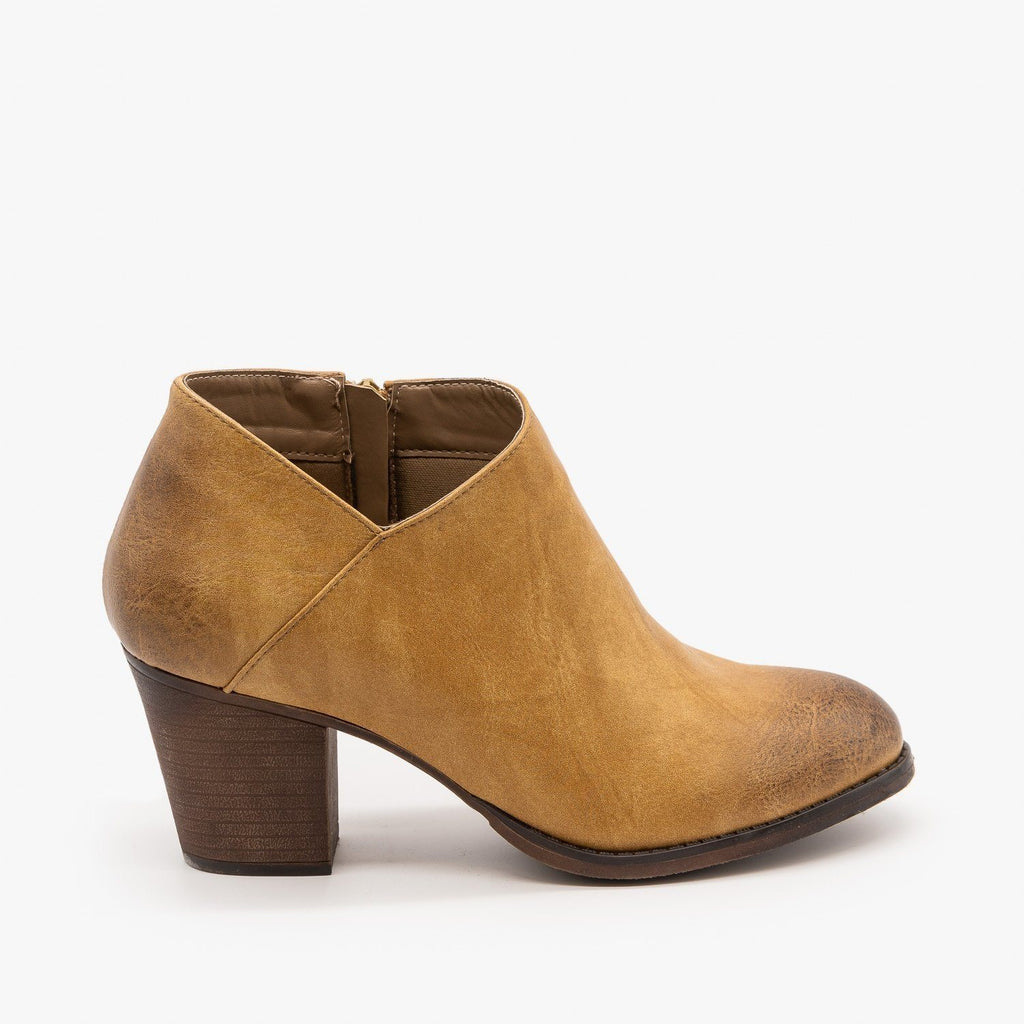 Womens Burnished Toe Fashion Booties - Mata - Beige / 5