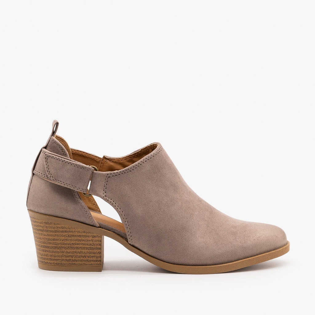 Womens Burnished Toe Slingback Style Booties - Qupid Shoes - Taupe / 5